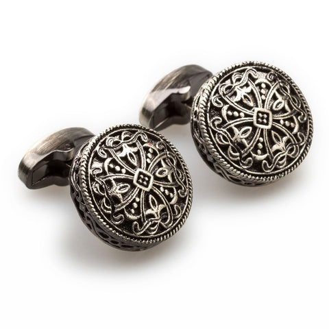OTAA Augustus Caesar Antique Silver Cufflinks  rhodium plating and antique silver