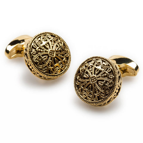OTAA Augustus Caesar Gold Cufflinks rhodium plating and gold