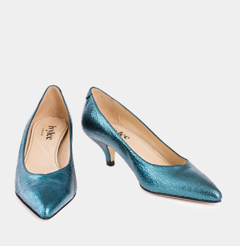 IVYLEE COPENHAGEN Ave Kitten Pump cracked metallic turquoise