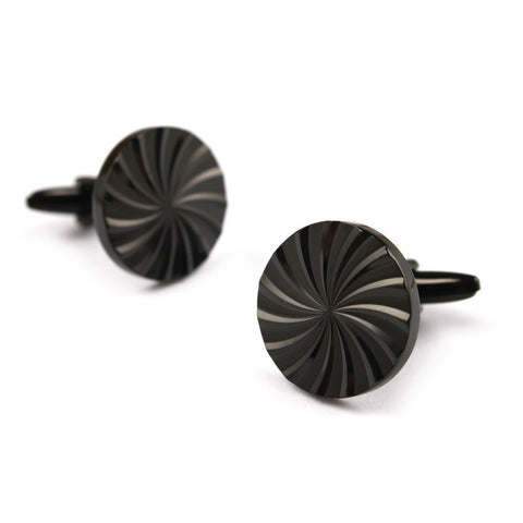 OTAA Black Circle Cufflinks rhodium plating and black