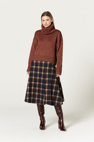 CABLE MELBOURNE Monroe Skirt whiskey check