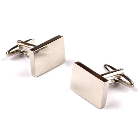 OTAA Classic Silver Rectangle Cufflinks rhodium plating and silver