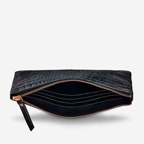 STATUS ANXIETY Fake It Clutch black croc emboss