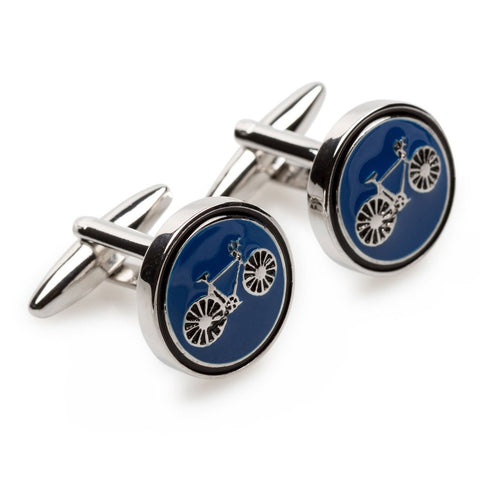 OTAA French Blue Bicycle Cufflinks rhodium plating and silver
