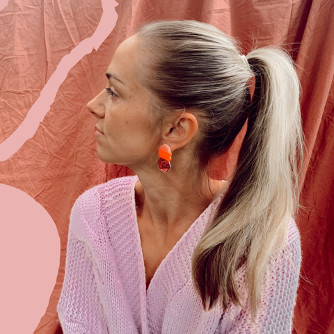 EMELDO DESIGN Lena Earrings pink, neon red and pink mirror