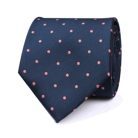 OTAA Navy Blue With Pink Polka Tie Set