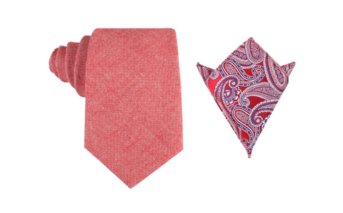 OTAA Venetian Red Linen Tie Set