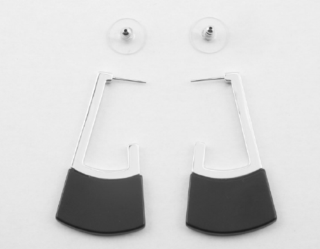 PETER LANG Nanu Earrings silver smoke resin