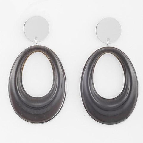 PETER LANG Eboney Earrings smoke resin