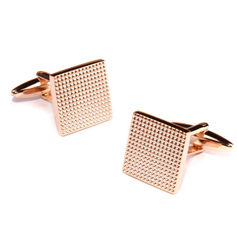 Square Studded Rose Gold Cufflinks rhodium plating and rose gold