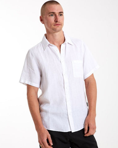 MR SIMPLE Linen Short Sleeve Shirt white