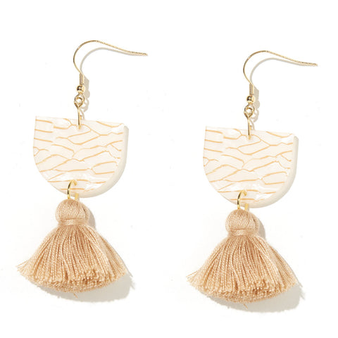 EMELDO DESIGN Annie Earring shell + gold tiger with camel tassel