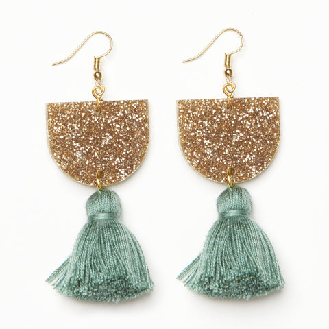 EMELDO DESIGN Annie Earring gold glitter with sage green
