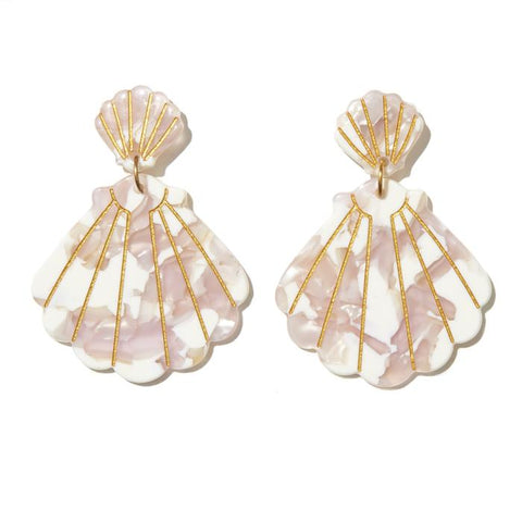 EMELDO DESIGN Shell Drop Earrings white pearl pink gold