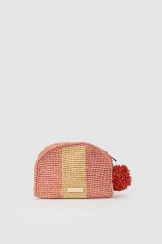 THE WOLF GANG Bolso Raffia Stripe Clutch candy