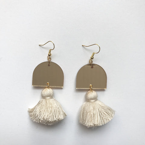 EMELDO DESIGN Luna Earrings gold mirror/light beige