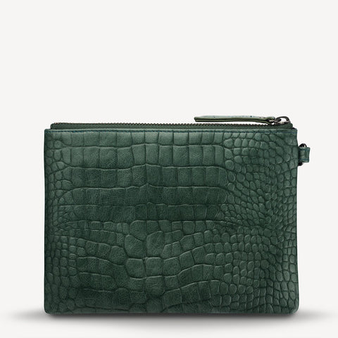 STATUS ANXIETY Fixation Clutch teal croc