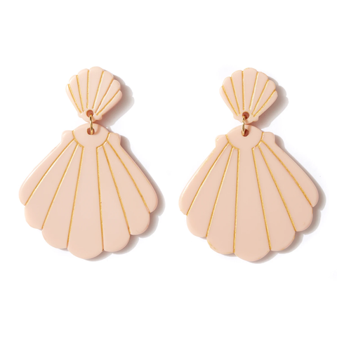 EMELDO DESIGN Shell Drop Earrings musk w gold