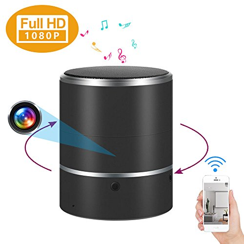 1080P  WIFI Hidden Camera Bluetooth Speaker  with 180°Rotate Lens and Motion Detection - PANNOVO