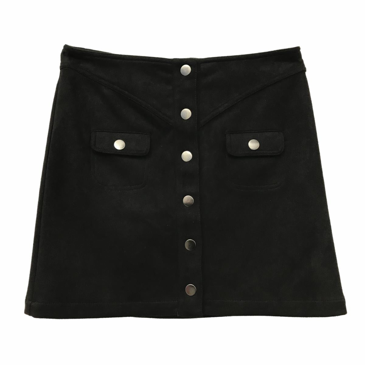 FOR ALL SEASONS Girls Button Down Faux Suede Skirt