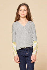 FOR ALL SEASONS Girls Striped Quarter Sleeve Infinity Top