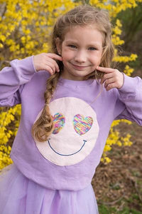 SPARKLE BY STOOPHER Sequin Smiley Sweatshirt