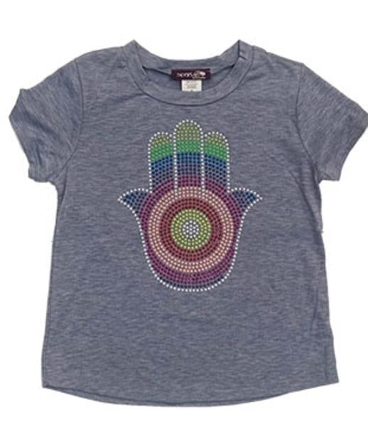 Sparkle By Stoopher Blue Short Sleeve Tee - Hamsa