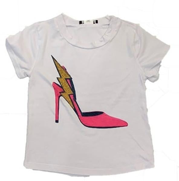 Sparkle By Stoopher White Short Sleeve Tee - In a Flash