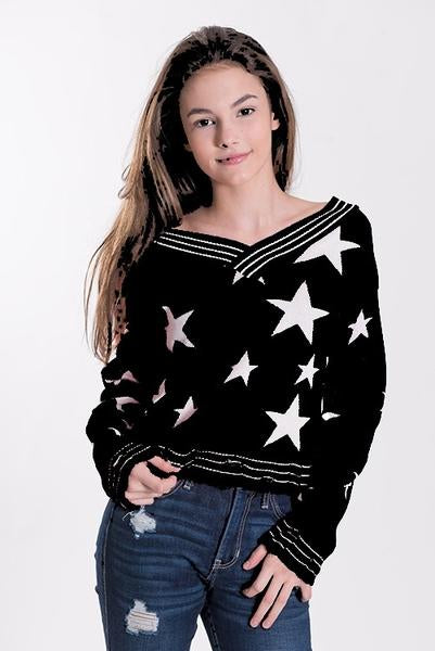 Tweenstyle - Black/White Star Print Sweater