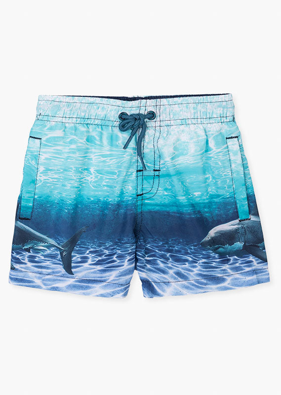 LOSAN Shark Print Swim Trunks