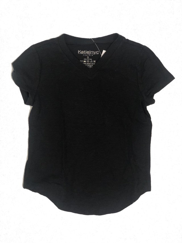 Katie J NYC Black V Neck Tee