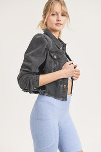 JUNIOR Puffed Sleeves Cropped Distressed Denim Jacket