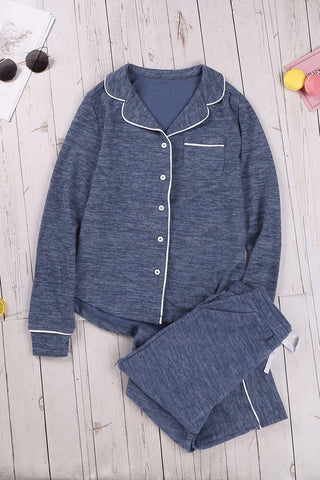 Blue Sound Asleep Button Down Pajama Set