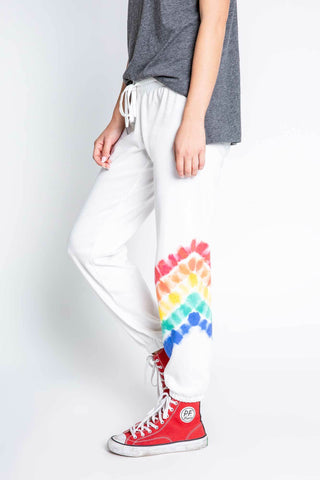 PJ Salvage Luv Rules Ivory Rainbow Tie Dye Banded Jogger Pants