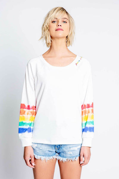 PJ Salvage Peace and Love Ivory Tie Dye Long Sleeve Year Round PJ Top