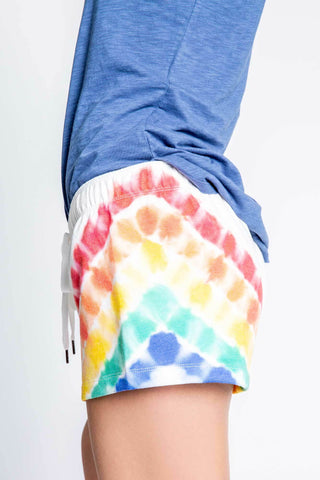 PJ Salvage Luv Rules Ivory Rainbow Tie Dye PJ Shorts