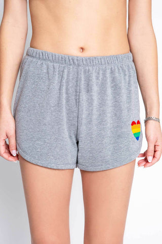 PJ Salvage Grey Rainbow Heart PJ Shorts