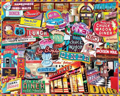 White Mountain Puzzle - 1000 Piece Jigsaw Puzzle, Retro Diner
