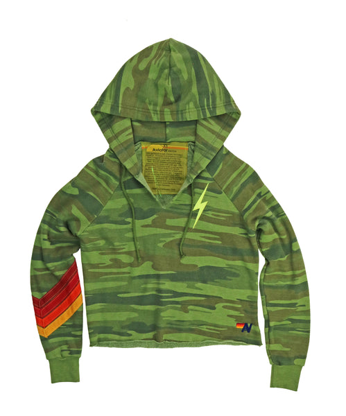 Aviator Nation BOLT STITCH CHEVRON SPLIT NECK PULLOVER CROP HOODIE - CAMO
