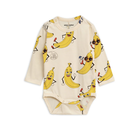 MINI RODINI Banana Print L/S Body Suit