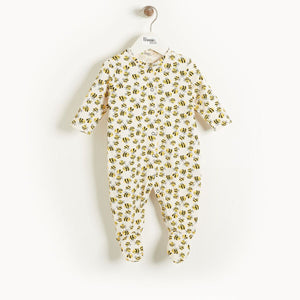 The Bonnie Mob Ivory Organic Cotton Sleepsuit