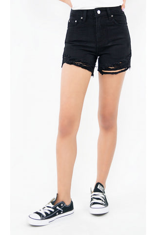 Tractr Girls High-Rise Frey Hem Short - Black