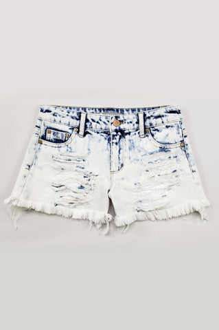 Tractr - MID RISE FRAY HEM BLEACHED SHORTS