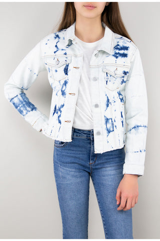 Tractr Girls Relaxed Cropped Tie Dye Denim Jacket