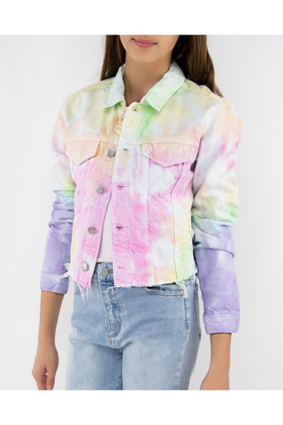 Tractr Girls Tie Dye Cropped Tie Dye Denim Jacket