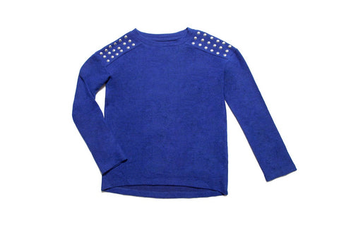 MIA NEW YORK STUDDED COBALT SWEATER
