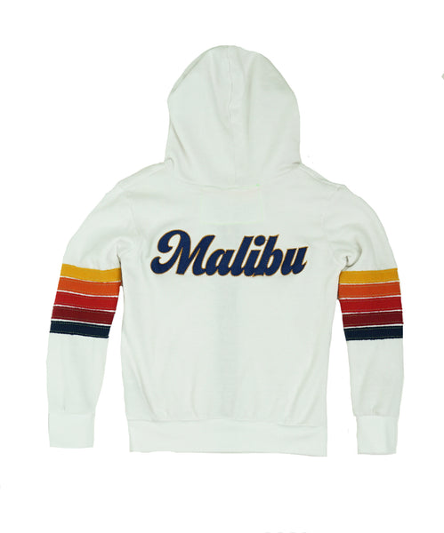 AVIATOR NATION KID'S MALIBU PATCH ZIP HOODIE - WHITE // RED STRIPES