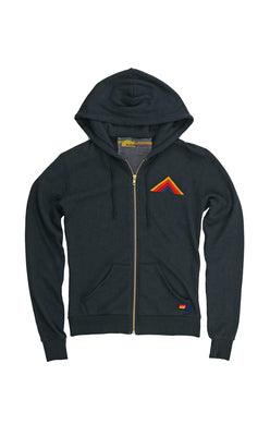 AVIATOR NATION MOUNTAIN STRIPE 7 STITCH ZIP HOODIE - CHARCOAL