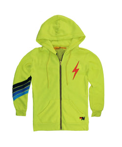 Aviator Nation KID'S BOLT STITCH CHEVRON ZIP HOODIE - NEON YELLOW