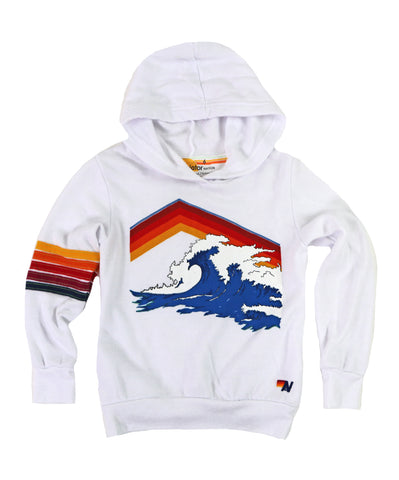 AVIATOR NATION KID'S MOUNTAIN WAVE PULLOVER HOODIE - WHITE